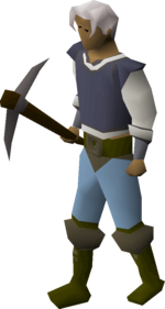 A player wielding an iron pickaxe.