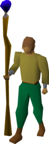 A player wielding a staff of water.