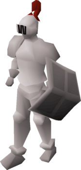 A player wearing a white full helm.