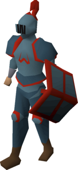 A player wearing a Zamorak full helm.