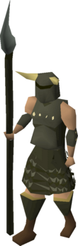 A player wearing Guthan's armour.