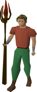 A player wielding Iban's staff.