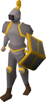 A player wearing a gold trimmed steel full helm.