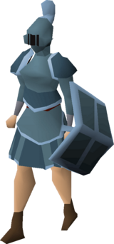A player wearing a trimmed rune plateskirt.