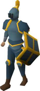 A player wearing a gold trimmed rune full helm.