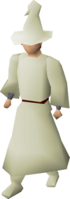 A player wearing cream gnome robes.