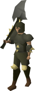 A player wearing Dharoks armour.