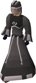 A player wearing a Void Knight melee helm.