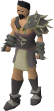 A male avatar wearing Bandos armour.