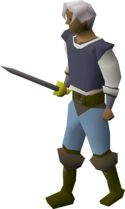A player wielding a steel longsword.