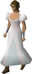 A player wearing a princess skirt.