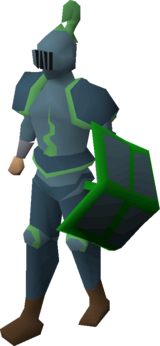 A player wearing a Guthix full helm.