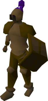 A player wearing a bronze full helm.