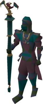 A player wielding a lunar staff.