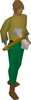 A player wielding a white battleaxe