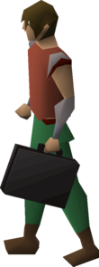 A player holding a briefcase