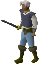 A player wielding an iron longsword.