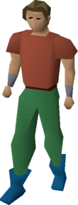 A player wearing wizard boots.