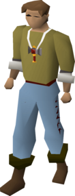 A player wearing a strength amulet (t).