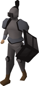 A player wearing a trimmed iron full helm.