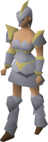 A female player wearing Armadyl armour.