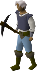 A player wielding a black pickaxe.