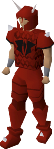 A player wearing a dragon med helm.