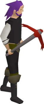 A player wielding the dragon pickaxe.