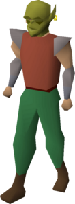 A player wearing a goblin mask
