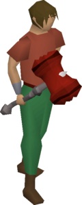 A player wielding the dragon warhammer.