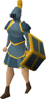 A player wearing a gold trimmed rune plateskirt.