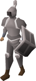 A player wearing a trimmed steel full helm.