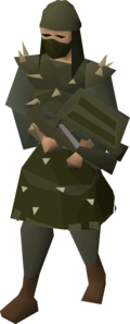 A player wearing karils armour.
