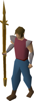 A player wielding a gilded hasta.