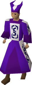 A player wearing enchanted robes.