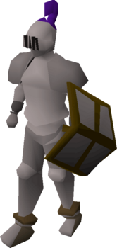 A player wearing a steel full helm.