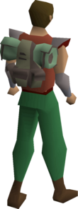 A player wearing an explorer backpack