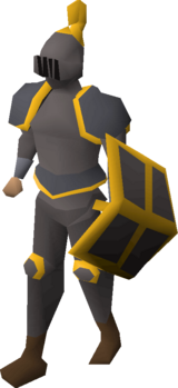 A player wearing a gold trimmed iron full helm.