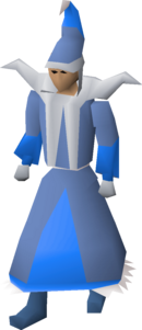 A player wearing mystic robes.