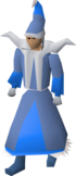 A player wearing blue mystic robes.