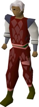 A player wearing red d'hide (t) armour.