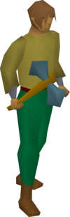 A player wielding a rune battleaxe.