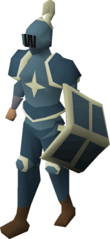 A player wearing a Saradomin kiteshield.