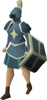 A player wearing a Saradomin plateskirt.