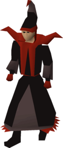 A player wearing dark mystic robes.